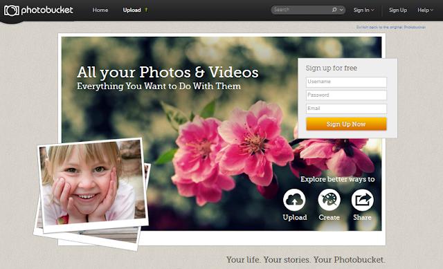Schermata della nuova versione di Photobucket