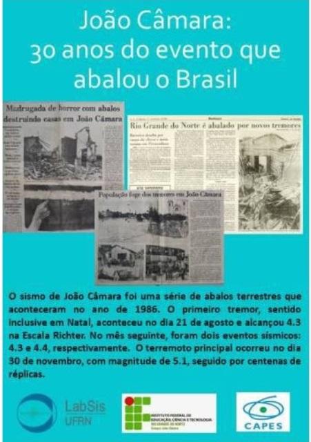 IFRN Campus João Câmara e UFRN terão eventos alusivos aos 30 Anos do grande terremoto de 86