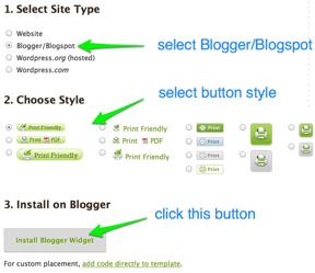 Print Friendly: Add PrintFriendly Button Using Blogger's