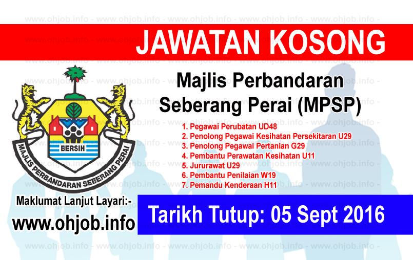 Jawatan Kerja Kosong Majlis Perbandaran Seberang Perai (MPSP) logo www.ohjob.info september 2016