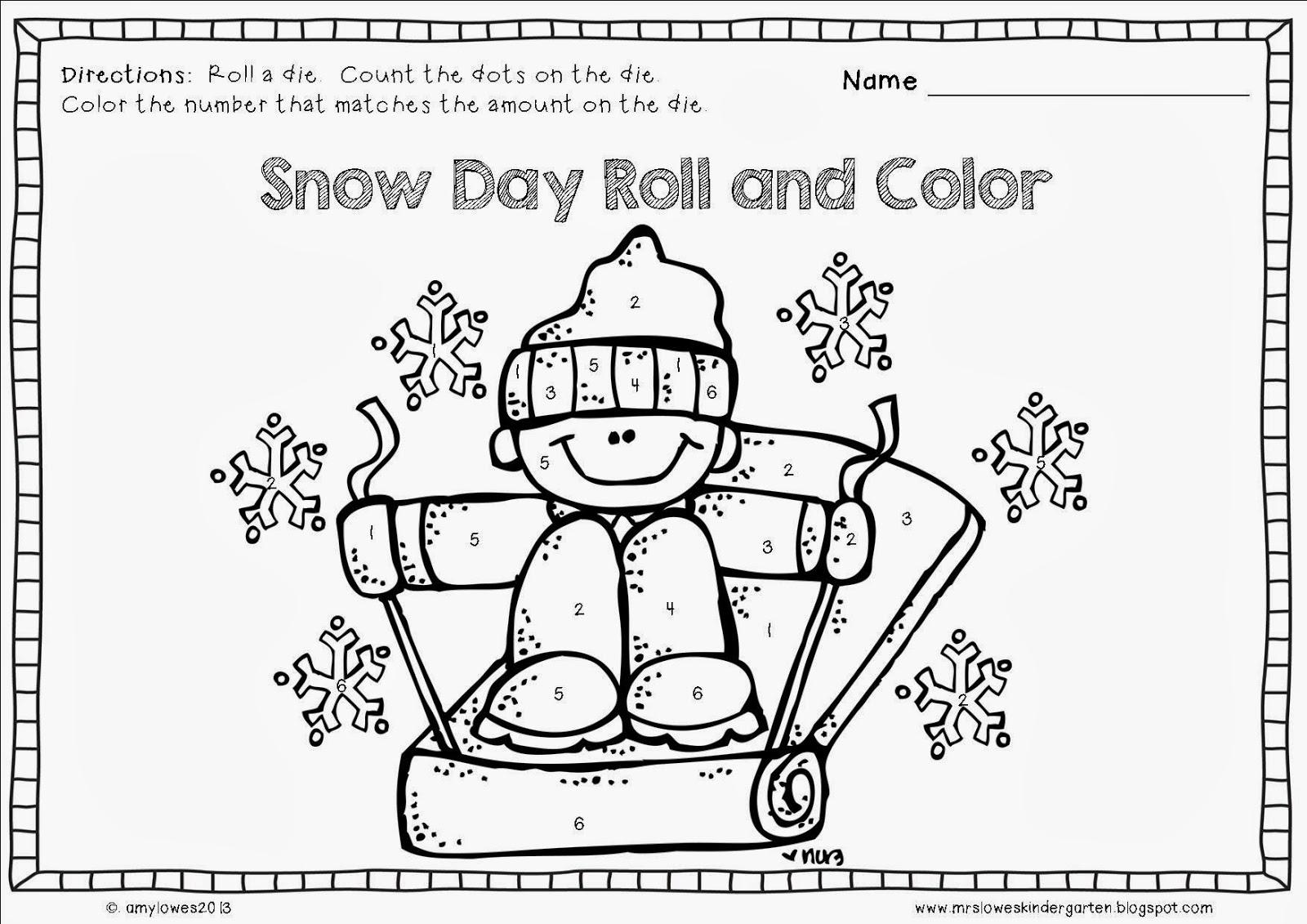 Mrs Lowes Kindergarten Korner No Prep Winter Math And