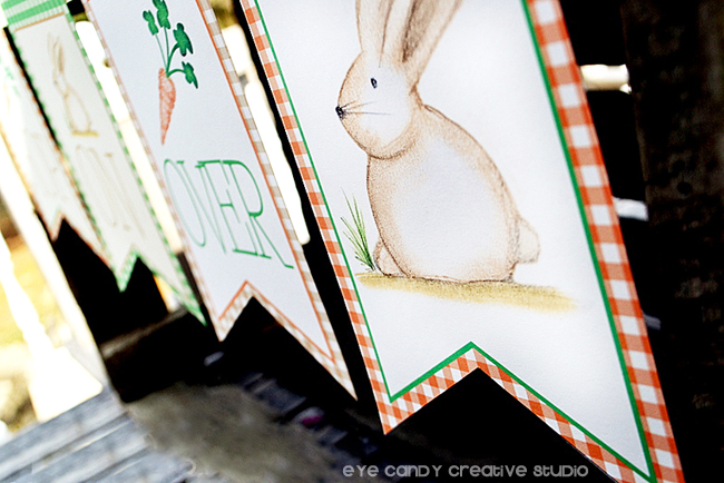 easter banner, hoppy easter banner, bunny illustration, bunny banner