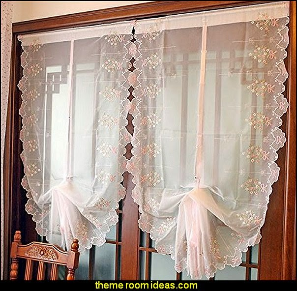 Pink Floral Embroidered Sheer Balloon Curtains