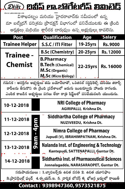 Divis Laboratories Ltd Walk In Drive For Freshers at 10 to 14 December