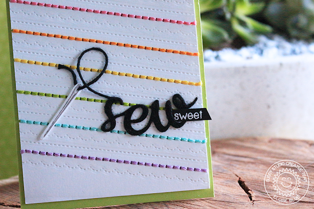 Sunny Studio Stamps: Cute As A Button Rainbow Stitched Card by Eloise Blue