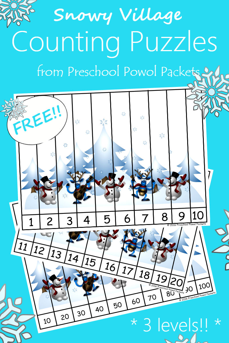 FREE} Snowman Counting Puzzles | Preschool Powol Packets