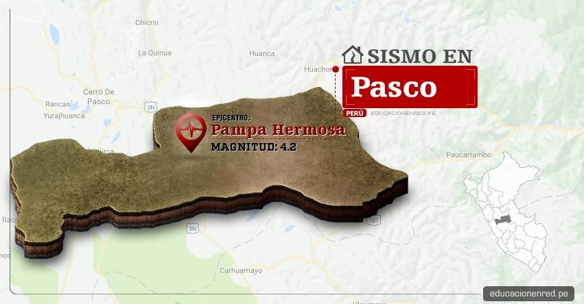 Temblor en Pasco de 4.2 Grados (Hoy Lunes 10 Abril 2017) Sismo EPICENTRO Pampa Hermosa - Chanchamayo - IGP - www.igp.gob.pe