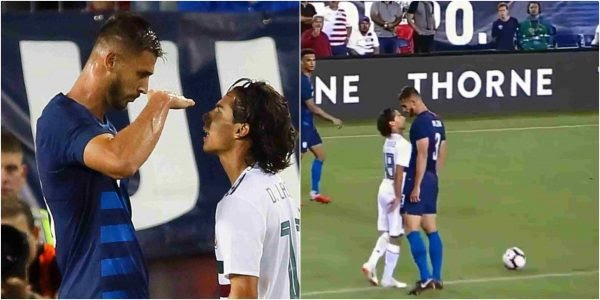 """Chelsea star Matt Miazga mocked Mexico's Diego Lainez for being short during a friendly football match yesterday night.  Miazga, who stands 6ft 4ins, did not exactly see eye-to-eye with his 5ft 6ins opponent during the clash between the United States and Mexico.    And in one flashpoint, Miazga looked down his nose – quite literally – at Lainez.  The current Nantes star and Lainez came together and squared up.  Lainez fumed in Miazga's direction, with the giant defender raising his right arm in front of him to indicate his rival's height.   Chelsea player mocks opponent for being short during football match Miazga then peered over the top, mocking Lainez for being vertically challenged.  Related Post Timaya celebrates birthday with new born son in Atlanta Timaya celebrates birthday with new born son in Atlanta. Dance hall singer, Timaya, who recently… The USA star said afterwards: """"We talked a little smack. It's part of the game. It's mental warfare. """"We got in their heads. They got a red card right after it. It took a toll and we won the game.""""   Lainez denied being affected by Miazga's trolling.  He said:  """"I wasn't offended by Miazga. It's football. Football players are different sizes and have different skill sets. And it is a very common occurrence for players to have conflicts during a football match, so it just part of the game"""" Caretaker coach Dave Sarachan saw his US side win 1-0 thanks to Tyler Adams' 71st-minute goal – his first for his country."""