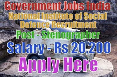 National Institute of Social Defence Recruitment 2017