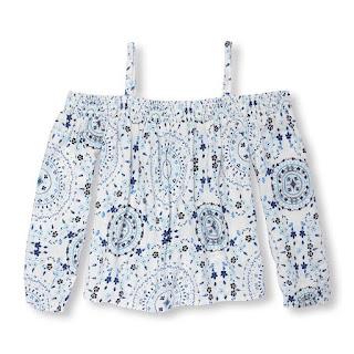 Áo vải bé gái trễ vai hiệu Children Place xuất xịn vietnam, chất 100% rayon. Size 4-14T.