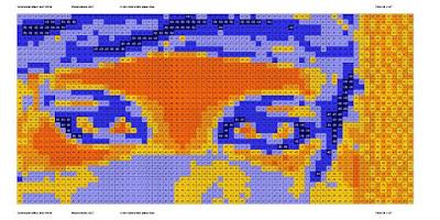 Opus Pixellatum Pop Art mosaic eyes portrait simulation, light colors.