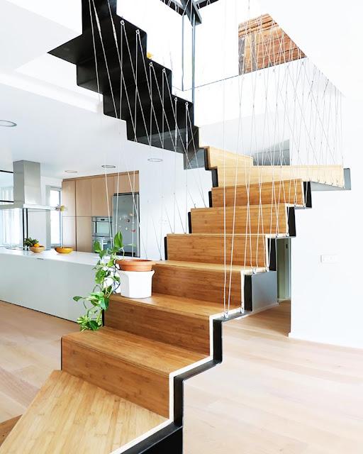 escalier loft bois et metal