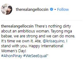 Angel Locsin Reacts To The Powerful Message Of Kris Aquino's Advertisement