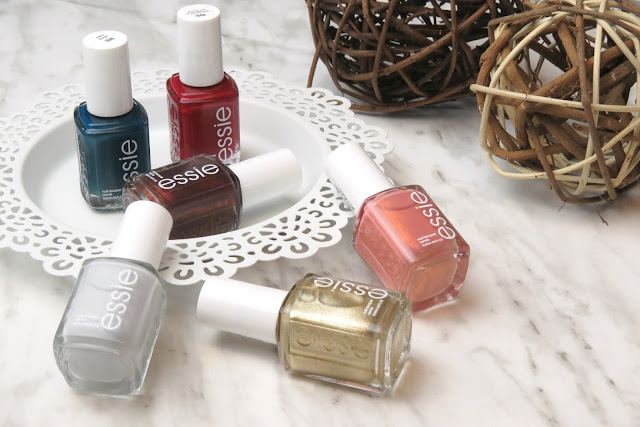 Essie Winter 2016 Nail Polish Collection Review Swatch Swatches Ready to Boa Satin Sister Party on a Platform Getting Groovy Oh Behave! Go with the Flowy
