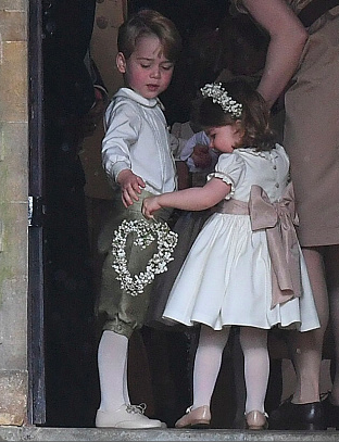 99591256c Prince George as pageboy and Princess Charlotte as a flower girl arrived to  the Pippa Middleton and James Matthews at St. Mark's Church in Englefield,  ...