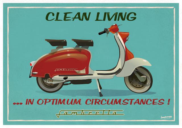 Clean Living in Optimum Circumstances Cool and Original A1 Lambretta LI 150 retro Poster Print