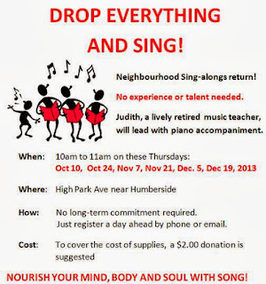 Drop Everything and Sing: Toronto Junction Neighbourhood Sing-alongs return