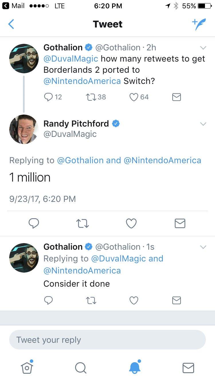 Nuevo reto: 1 millón de RT y Borderlands 2 llegará a Nintendo Switch
