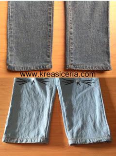 Contoh permak celana jeans teknik potong sambung