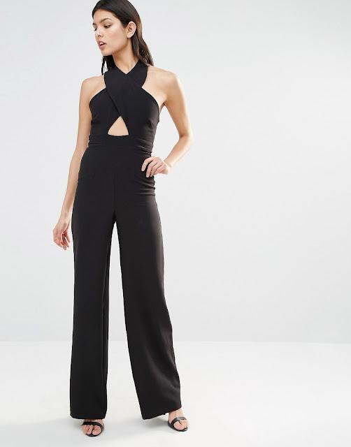 vesper black jumpsuit, black cross front jumpsuit,