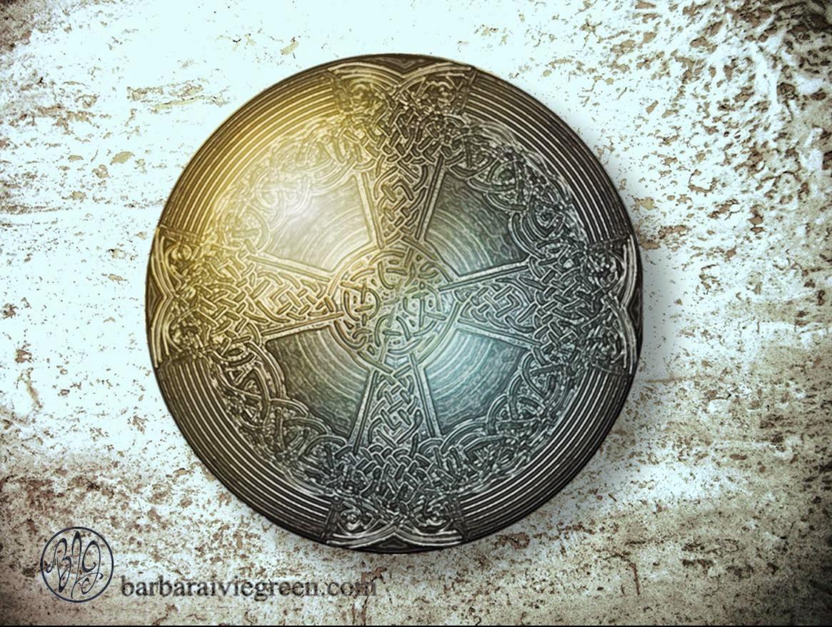 an aged silver Celtic cross shield or Templar cross shield