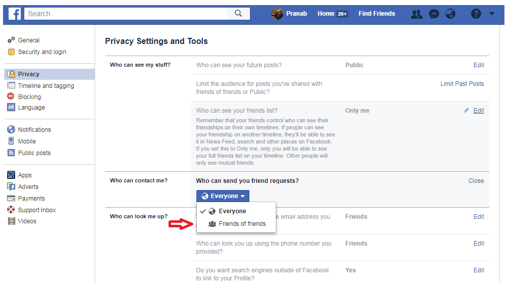 Manage Friend Request on Facebook