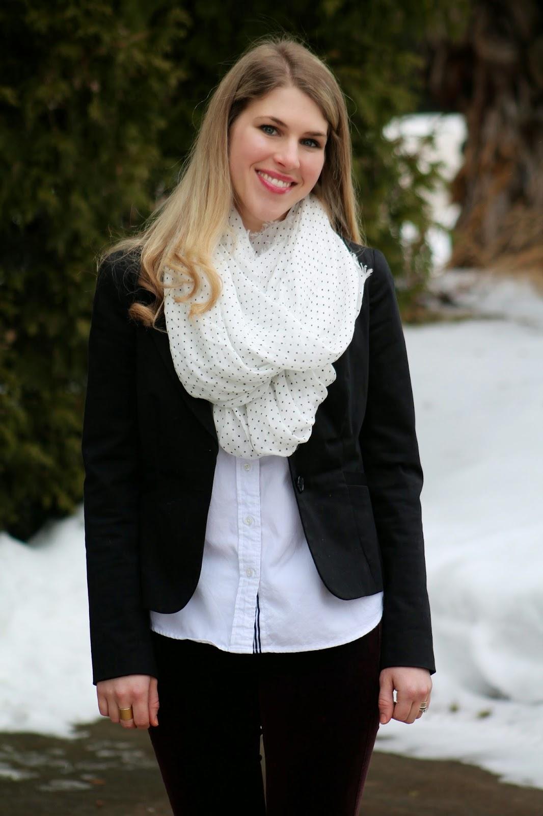black blazer button up polka dot scarf burgundy pants leopard flats