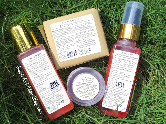 Forest Essentials Iced Pomegranate & Kerala Lime Body Mist, Shower Gel, Sugar Soap, Body Cream Review Ingredients
