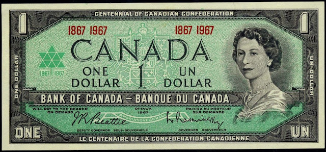 Canadian Banknotes One Dollar Note 1967 Centennial of Canadian Confederation