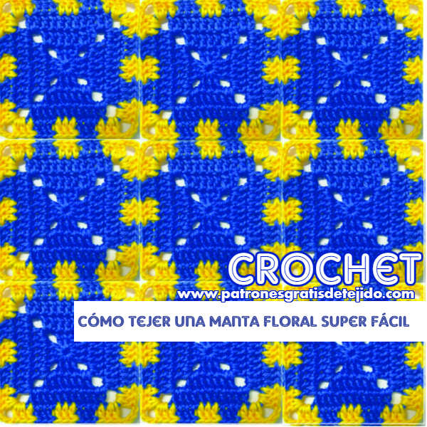 manta con cuadros crochet en dos colores, fácil y paso a paso
