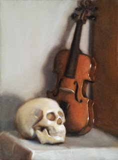 Oil painting of a plastic skull beside a violin standing upright.