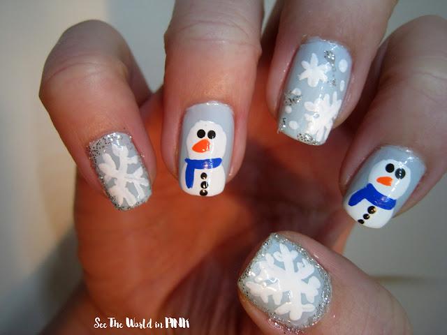 snowman and snowflake nail art