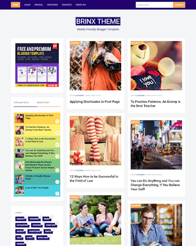 Brinx - Mobile Friendly and Fully Responsive Blogger Template
