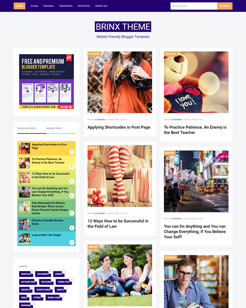 Brinx - Premium Mobile Friendly and Fully Responsive Blogger Template