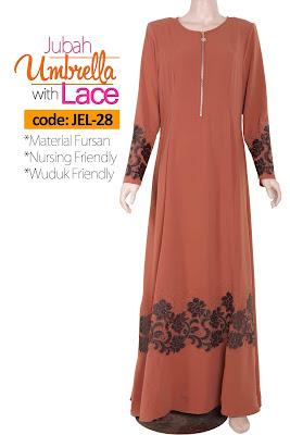 Jubah Umbrella Lace JEL-28 Persian Brown Depan 3