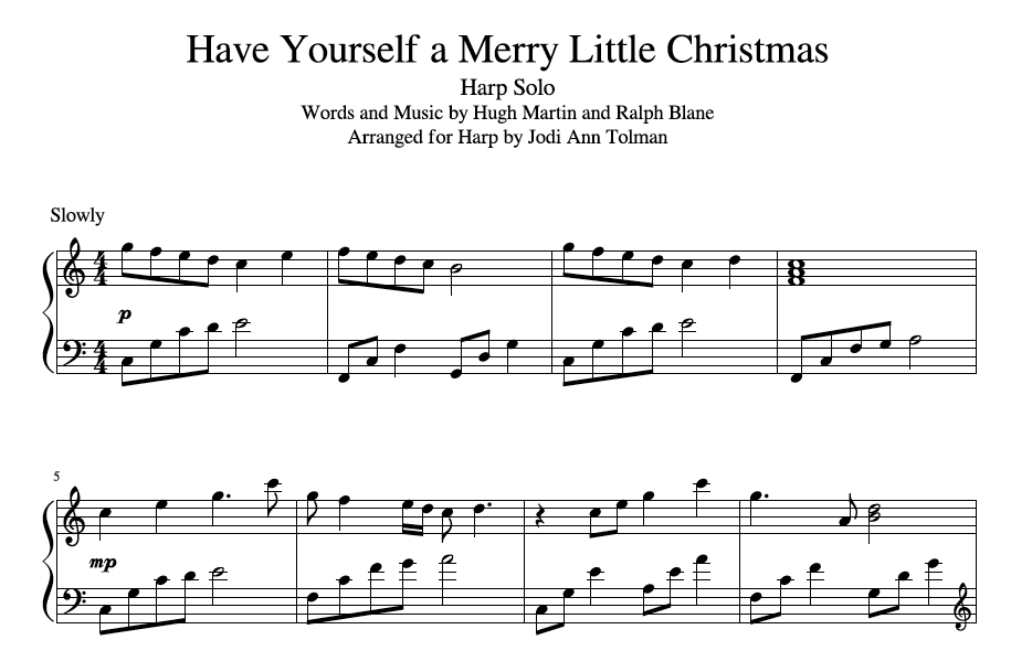Have Yourself a Merry Little Christmas, Harp Solo | Music by Jodi Ann