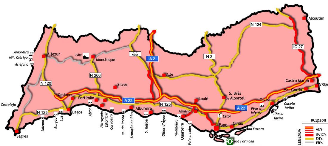 mapa de estradas algarve a peida é um regalo  do nariz a gente trata: Segunda feira, 11  mapa de estradas algarve