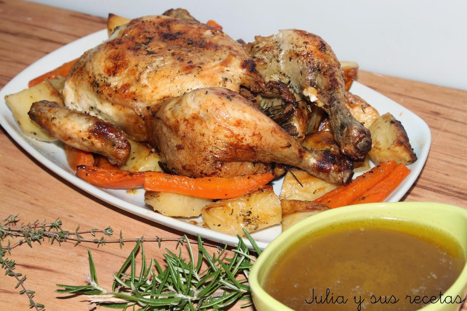 Pollo asado al romero. Julia y sus recetas