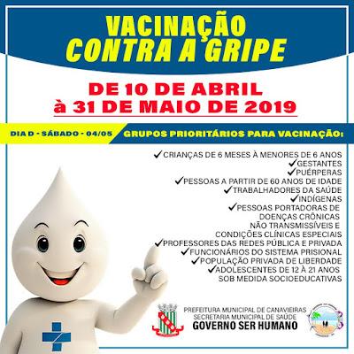 Canavieiras: Secretaria de saúde do município divulga datas para a vacinação contra gripe