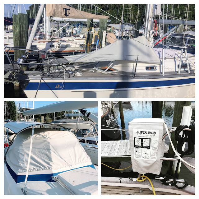 Hallberg-Rassy 37, deck sun tent, Lifesling cover, sailrite, sewing, wind dodger screen