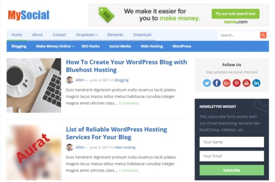 Tema Wordpress Gratis - MySocial