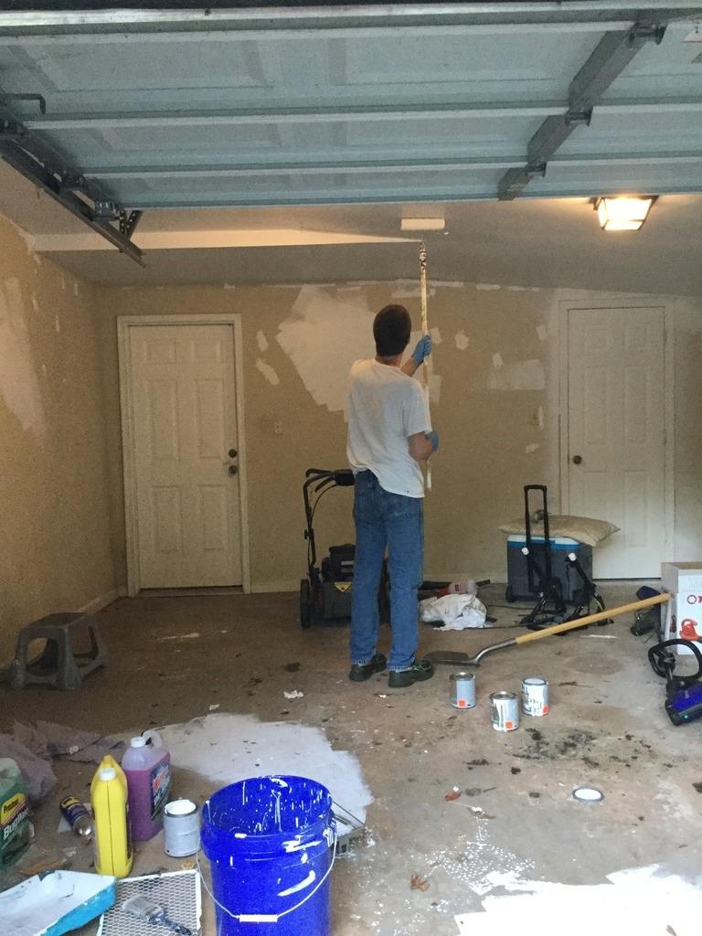 Neko random painting the garage ceiling