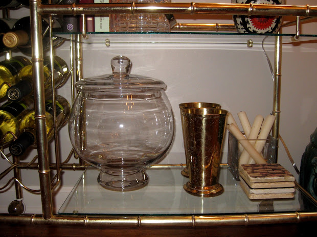 Classically Eclectic Brass Faux Bamboo Bar Cart