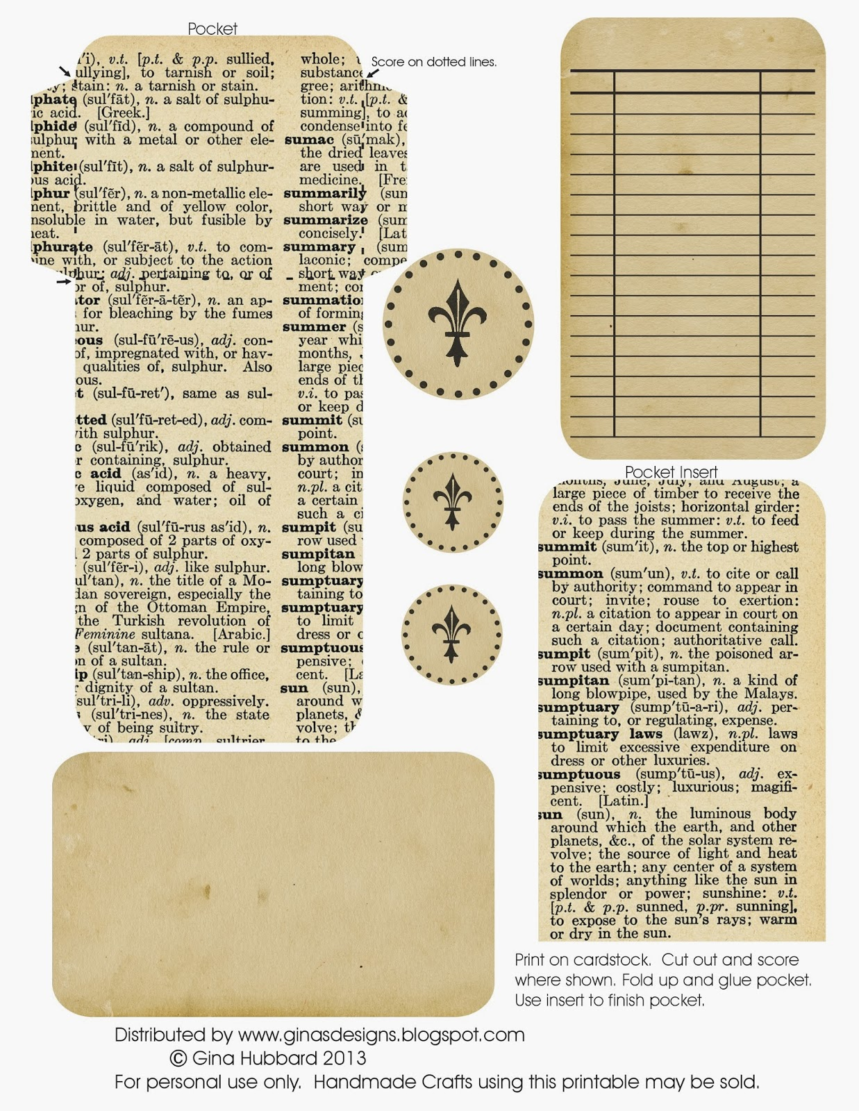 graphic about Printable Vintage Dictionary Pages titled Ginas Layouts: Freebie Friday Dictionary Webpage Library Pocket