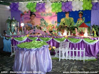 Decoração tema Princesa e o Sapo - festa infantil