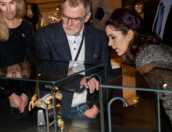 "Crown Princess Mary opened the exhibition ""The Jewellery Box"" at the Old Town Museum in Aarhus. Princess Mary wore wool skirt suit"