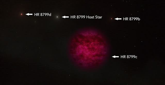 Artist's impression based on published scientific data on the HR 8799 solar system. The magenta, HR 8799c planet is in the foreground. Compared to Jupiter, this gas giant is about seven times more massive and has a radius that is 20 percent larger. HR 8799c's planetary companions, d and b are in the background, orbiting their host star. CREDIT: W. M. KECK OBSERVATORY/ADAM MAKARENKO/C. ALVAREZ