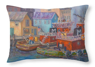 Pillow with coastal natical look with tug boats on ocean
