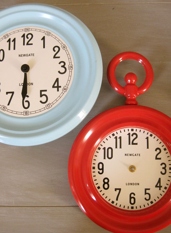 red and blue metal clearance clocks from TJ Maxx clearance bins - London - Newgate