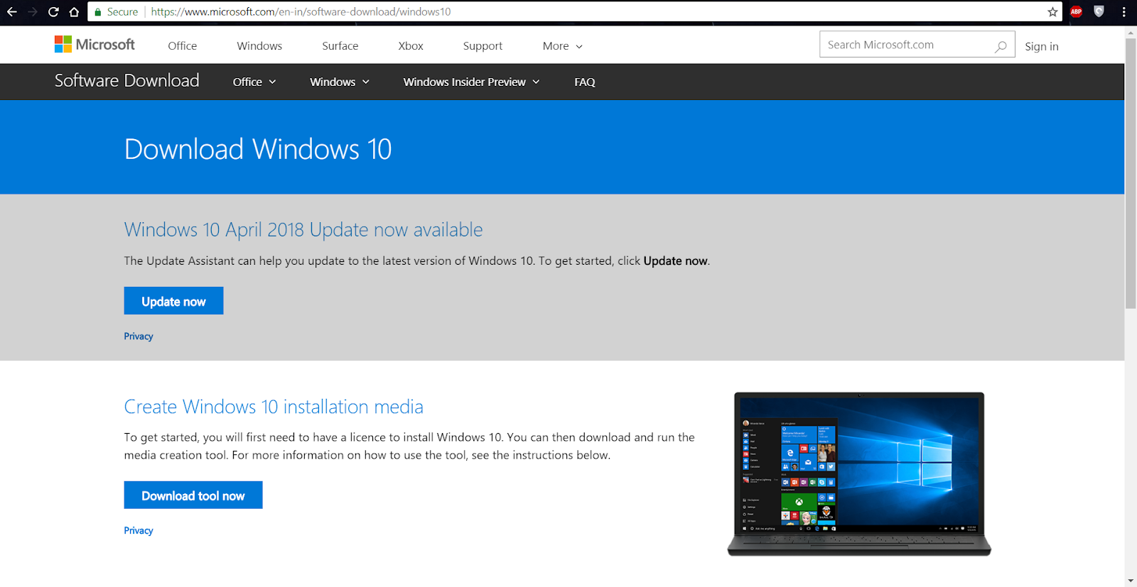 windows 10 april 2018 update 1803 iso